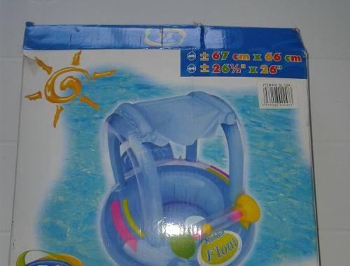 Flotador Con Techo Y Zona De Juego Para Bebe En Su Caja