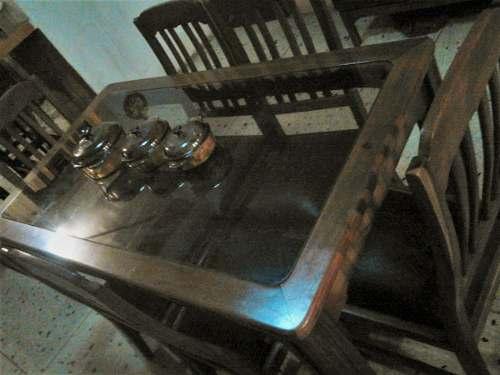 Juego D Comedor 6 Puestos Vidrio/saman,asientos D Cuero370us