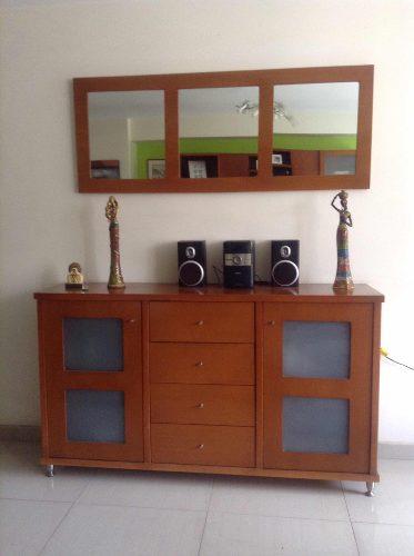 Seibo De Madera Moderno Color Cerezo Con Gavetas Y Espejo