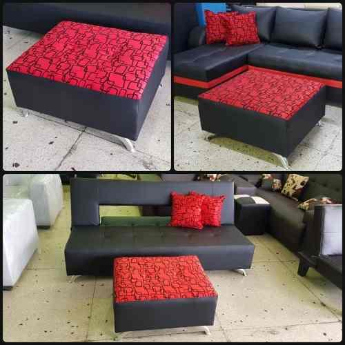 Sofa Cama Matrimonial Con Puff Mesa Y Cojines Decorativos