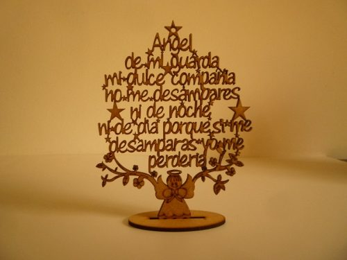 Arbol Oración Angel De La Guarda En Mdf 3mm Corte Laser