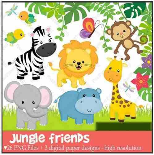 Kit Imprimible Animalitos Selva Zoologico Bebe Clipart+fondo