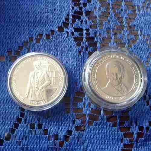 2 Monedas De Plata - Simón Bolívar Y Vargas