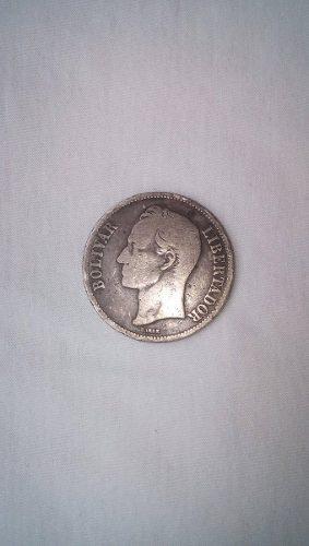 Agradable Moneda De Venezuela 5 Bolivares Antigua
