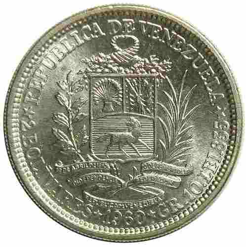 Moneda De Venezuela Dos Bolívares De Plata De  Ef+
