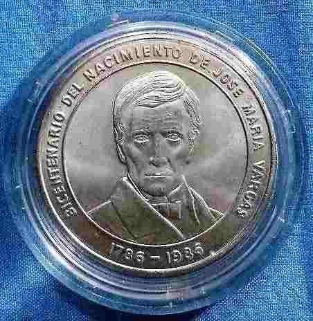 Moneda Plata 900 Bicentenario Jose Maria Vargas