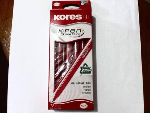 Boligrafo Kores Ko-f Rojo Punta Fina X Caja (12 Unidades)