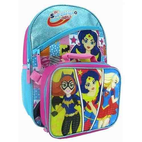 Bolso Morral + Lonchera Dc Super Hero Girls Mujer Maravilla