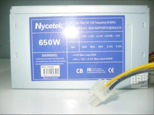 Fuente De Poder Nycetek 650 Watt