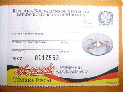 Timbres Fiscales Miranda 2 Ut Pack:2 20 Vds