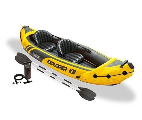 Kayak Inflable Intex Explorer 2 Personas Con Remos Y Bomba