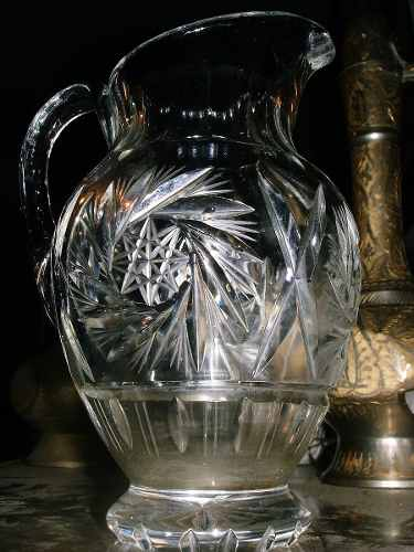 Antigua Jarra De Cristal De Bohemia Tallada En Perfecto Esta