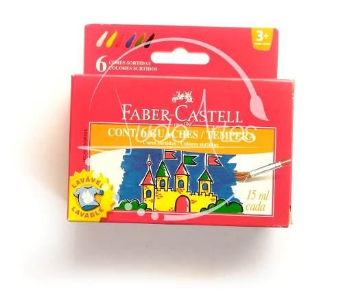Caja De Temperas Faber Castell X 6 Colores Guaches 15ml
