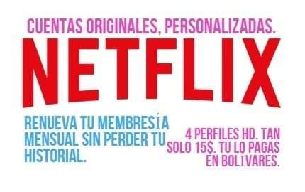 Cuente Neflix / 4 Screens / Hd / One Month