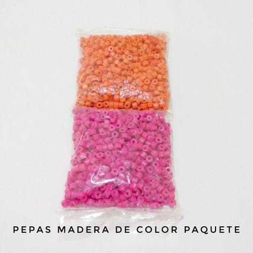 Pepas De Madera | Unicolor | Paquete Para Bisutería