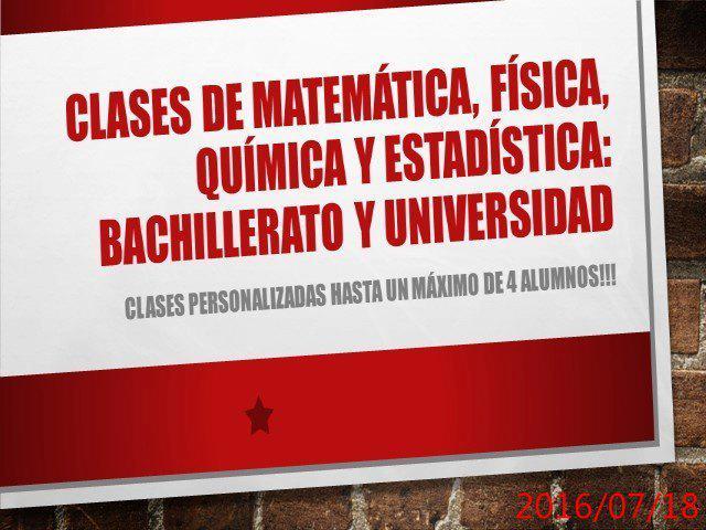 Clases de matemática, física y química para bachillerato
