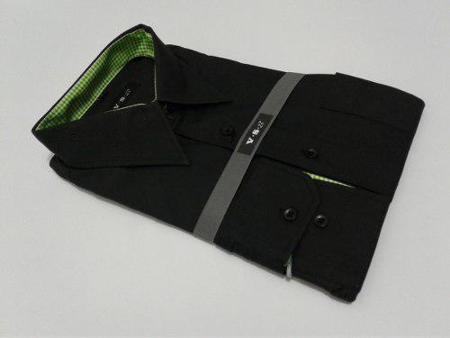 Camisas Manga Largas Negra Para Caballeros