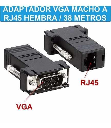 Adaptador Extension Vga Macho A Rj45 Hembra Rj45 A Vga Xtc