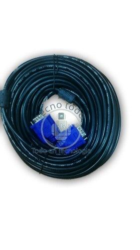 Cable Vga Macho Macho 20 Mts De Largo 15 Pines Doble Filtro