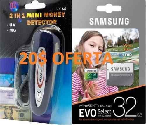 Combo Microsd 32 Gb + Minidetector De Billetes Falsos 2 En 1