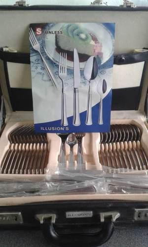 Maletín Juego De Cubierto Marca Illusions 72 Piezas Nuevo