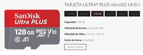 Memoria Micro Sd 128gb Sandisk Plus 100mb/s Class10 Tienda