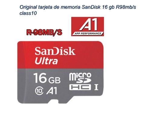 Memoria Micro Sd 16gb Sandisk Clase 10 A1 98 Mb/s Original 1