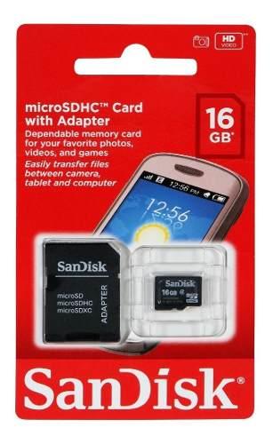 Memoria Micro Sd 16gb Sandisk Clase 4 Original