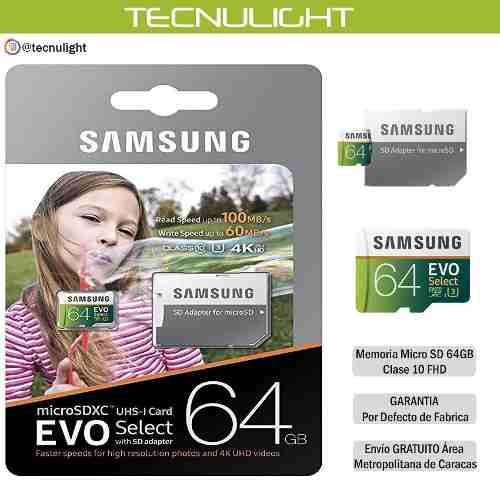 Memoria Micro Sd Samsung 64 Gb Clase 10 Original (blister)