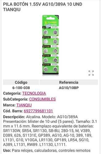 Pila Boton Bateria Reloj Ag10/389a 1.55v Calculadora Contro