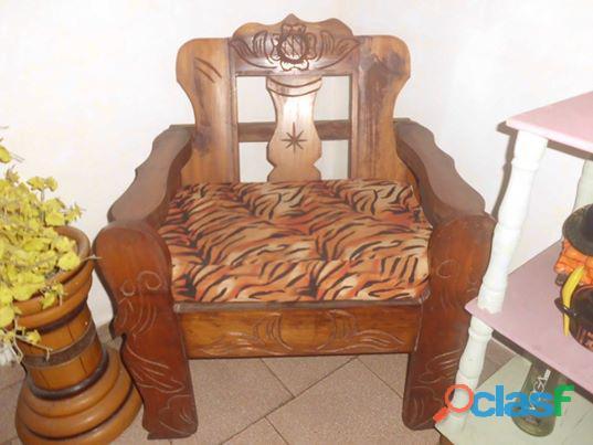 juego de muebles de madera 4 piezas sala recibo