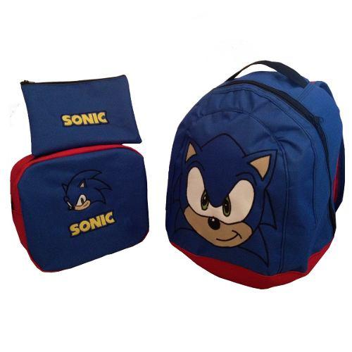 Bolso Morral Escolar Combo Sonic The Hedgehog