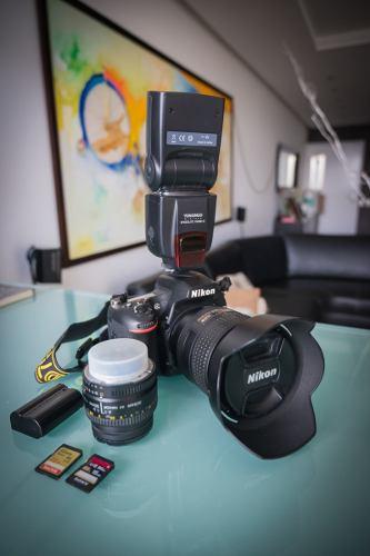 Camara Nikon Dgb +mmf4 +50mmf1.8 +bolso +flash