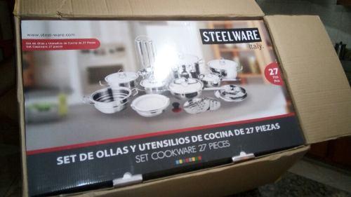 Juego De Ollas 27 Pzs.acero  Steel-ware Italy