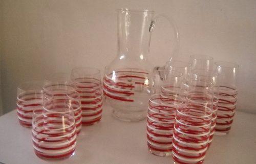 Jarra Y Dos Juegos De Vasos En Cristal