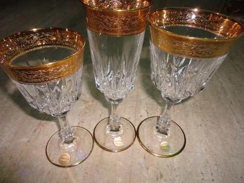 Juego 18 Copas Cristal Tallado De Bohemia Borde De Oro 22kls