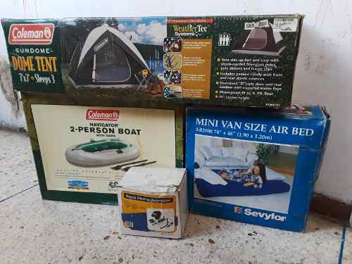 Kit De Camping Carpa Bote Coleman Y Colchon Inflable