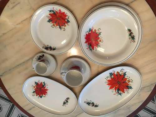 Vajilla Navidad 8 Puestos Usada De Porcelana
