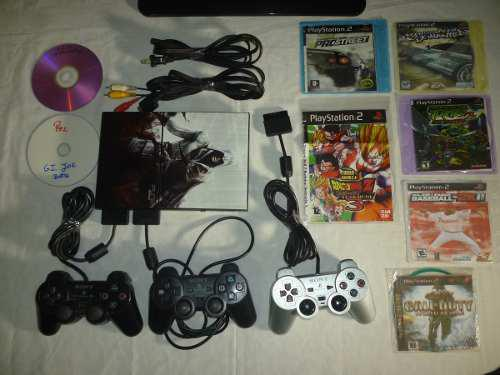 Play Station 2 Chipiado Con 3 Controles Y 8 Juegos
