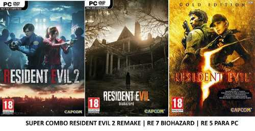 Super Combo Resident Evil 2 & Re 7 Bio & Re 5 Gold Pc