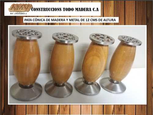 Pata De Madera Y Metal De 12cm