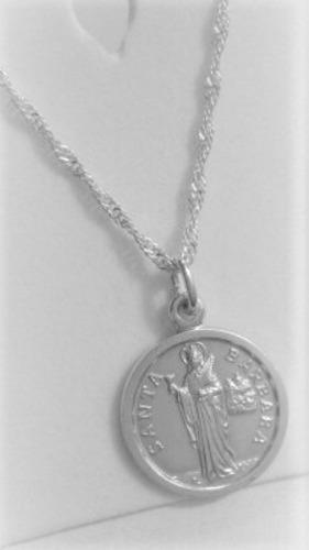 Cadena 45cm Plata Italy + Medalla Santa Barbara