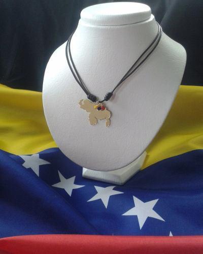 Collar Tricolor Con Dije Orfebrería Mapa De Venezuela