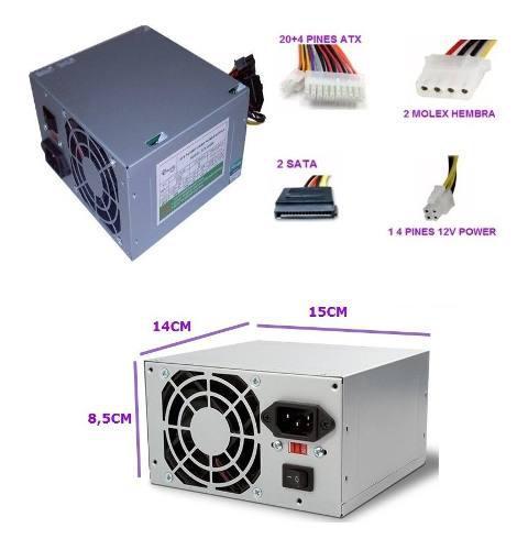 Fuente De Poder 500watt Atx-500w Pc Sata Molex Emerald Ccc
