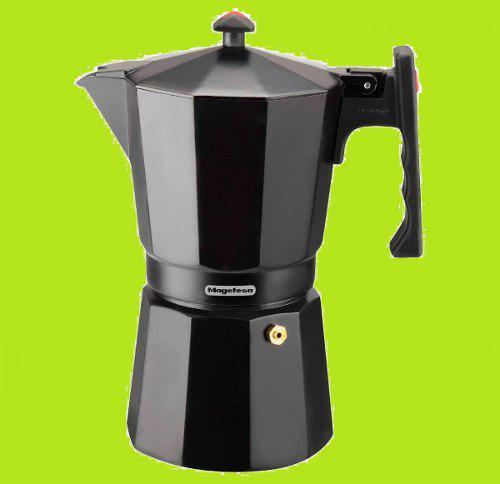Cafetera Greca Magefesa 3 Y 6 Tazas Plateada Negra Premium