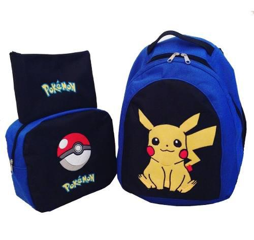 Bolso Morral Escolar Lonchera Cartuchera Pokemon