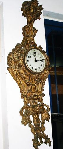 Reloj De Pared Antiguo Madera Y Pasta Buen Estado