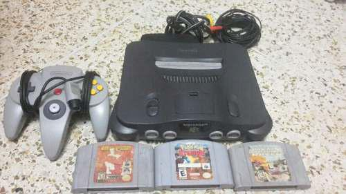 Nintendo 64 Con 1 Control, 3 Juegos, Cables Y Transformador