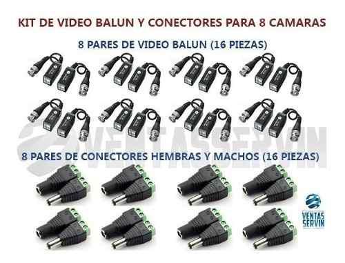 Kit De Video Balun Y Conectores Hembra Y Macho Para 8 Camara