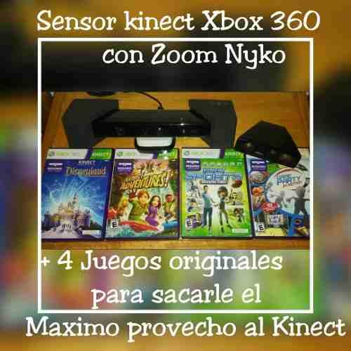 Sensor Kinect Xbox 360 Con Zoom Nyko Mas 4 Juegos Originales